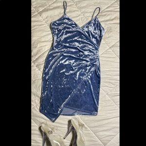 Beautiful blue crushed velvet dress